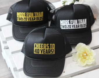 40th Birthday Hat Trucker Custom Hats Women Snapback