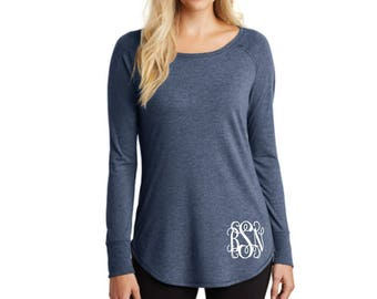 Monogrammed Tunic Soft and Comfy Shirt Light Weight Long Sleeve