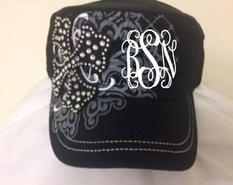 a77564ba36c Monogrammed Rhinestone Cross Hat