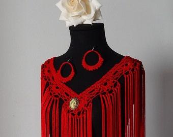 Mantoncillo of flamenco to Crochet Cuquillo red thread in fans (Ref M-2)