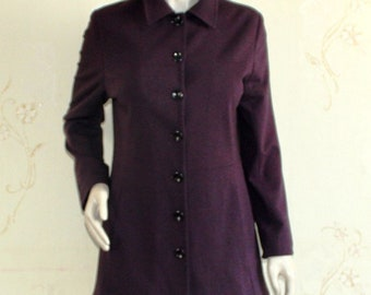 Women's vintage eggplant color dark purple jacket coat button down with lining and pockets fitted L