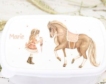 Lunch box horse, girl, horse schooling, schoolchild gift girls, horses