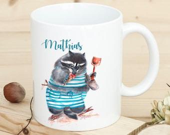 Ernährung Tasse Becher Kaffeebecher Geschenk Kaffetasse Waschbär Spruch Moin Mama Ts655