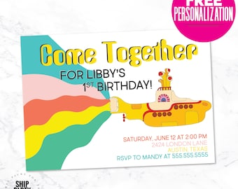 Beatles Inspired Party Invitation, Yellow Submarine, Come Together, Beatles Invitation, Free Personalization, Digital Invitation