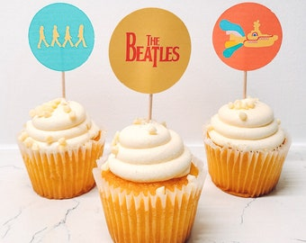 Beatles Cupcake Toppers, Yellow submarine cupcake toppers, Birthday Party, Beatles Party Supplies, Yellow Submarine Decor, The Beatles,