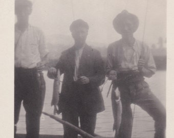 Antique Photo, Catch of the Day, Three Men with Fish and Fishing Rods on Boat, Fisherman, Vernacular, Oar, Rowboat, Maritime, Misty