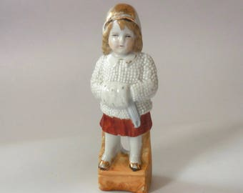 Vintage 1930s Porcelain Snow Baby Figurine, German porcelain, 2662, Christmas, winter clothing, child, girl, white and red, gold, ceramic