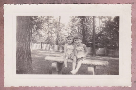Vintage Photo, Cute Toddlers Sitting on a Bench, Vernacular, Children, Boy,  Girl, Summer, Kodak, Velox, Grass, Candid, White Picket Fence