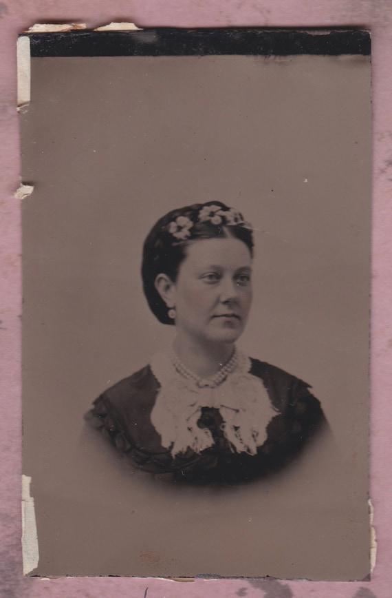 1800 Tintype Foto Eingefärbter Bürgerkrieg ära Frau Mit Blumen Etsy