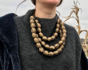 Statement Leopard Jewelry One Strand Short Necklace With Leopard Print Large Fabric Bead Choker for Women