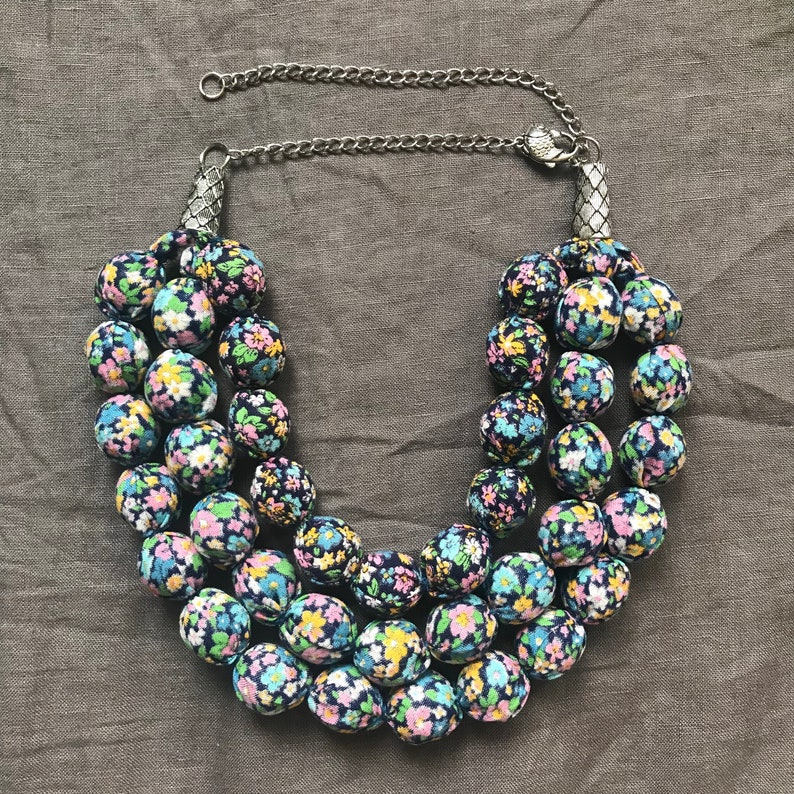 Handmade Fabric Necklace with floral print Textile Necklace Three Strand Cotton Choker
