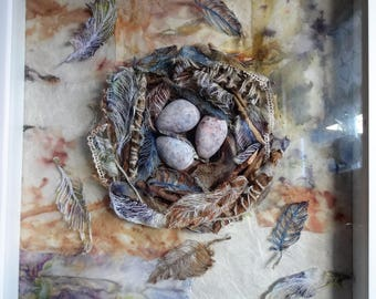 Textile Fine Art original mixed-media 'Hope is the thing with feathers...' , by Sue Townshend