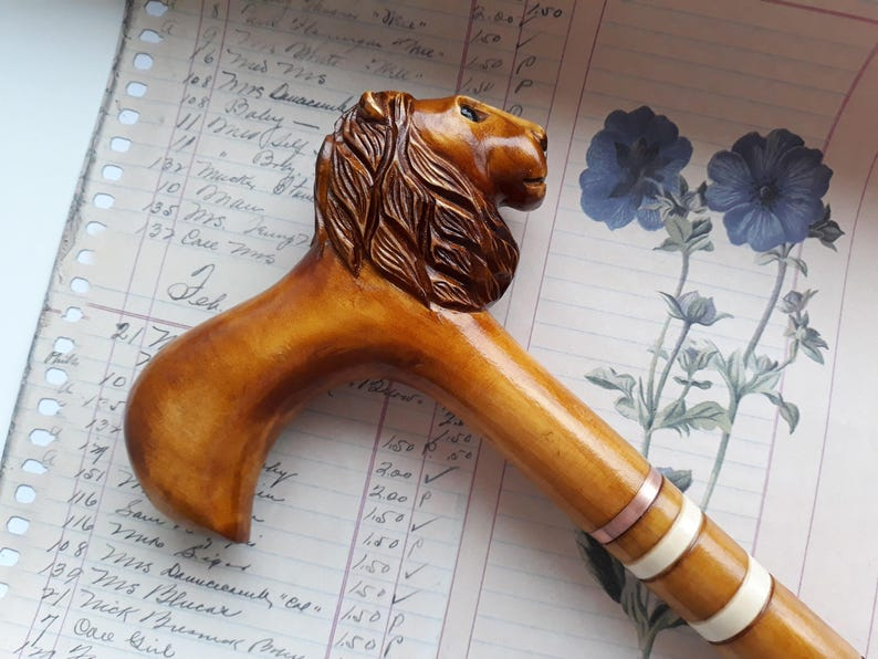 Carved Walking Cane Lion Hand Carved Walking Stick Wooden Walking Sticks Walking Staff Walking Sticks For Sale Custom Walking Canes