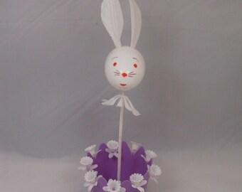 Vintage Easter 50s Kitsch Bunny Rabbit Plastic Center Piece Decor Candy Holder