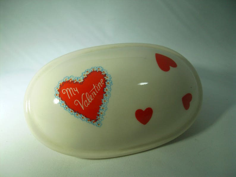 89adafb7c83f9 Vintage 80s Valentines Day Trinket Box Oval Heart My Valentine Jewelry Ring  Box Ceramic