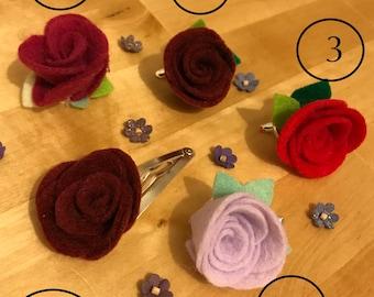 Pretty rose flower felt hair clips
