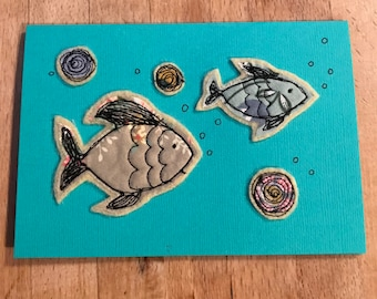 Handmade card (freehand machine/motion embroidery) - fish & bubbles