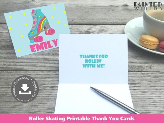 Roller Skating Thank You Card  Roller Skate Thank You Cards  Roller Skating Birthday Party  Cat Thank You  Printable Instant Download