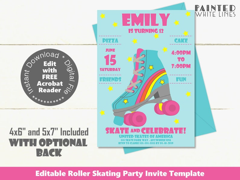 photograph relating to Roller Skate Template Printable identified as Printable Roller Skating Get together Invitation Rollerskating Social gathering Invitation Rollerskate Birthday Get together Invitation Template Down load Females PWL9