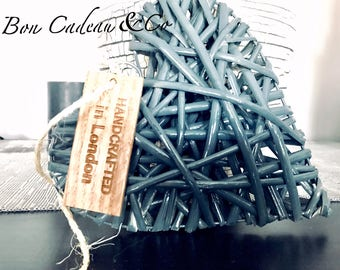 Wicker heart ornament with natural rope, handcrafted window heart accent, home decor