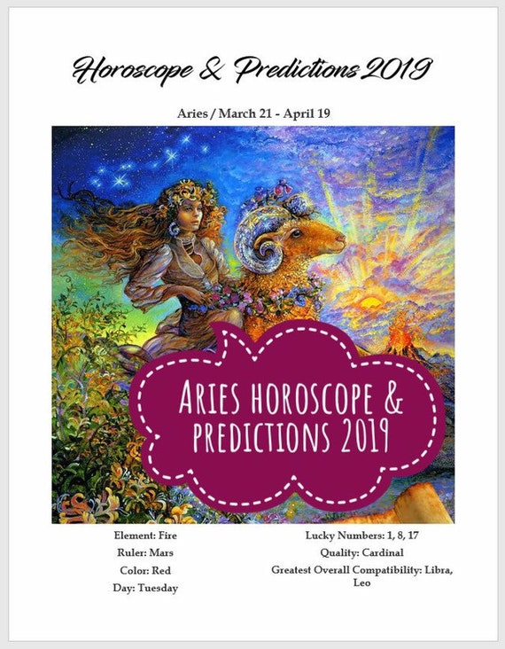 Aries Horoscope And Predictions 2019 Astrology Zodiac Sign Etsy