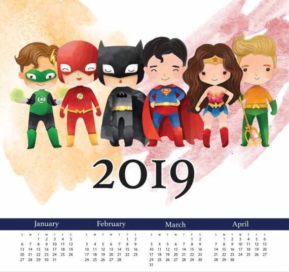 Super Heros Calendar 2019 Printable Year Calendar Instant Etsy