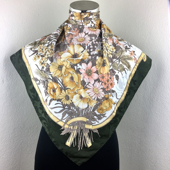 Italy design silk scarf vintage italian scarves gift for her N size 34 inches
