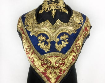 """Bella Rosa silk scarf vintage scarves gift for her C200 Size 34"""""""