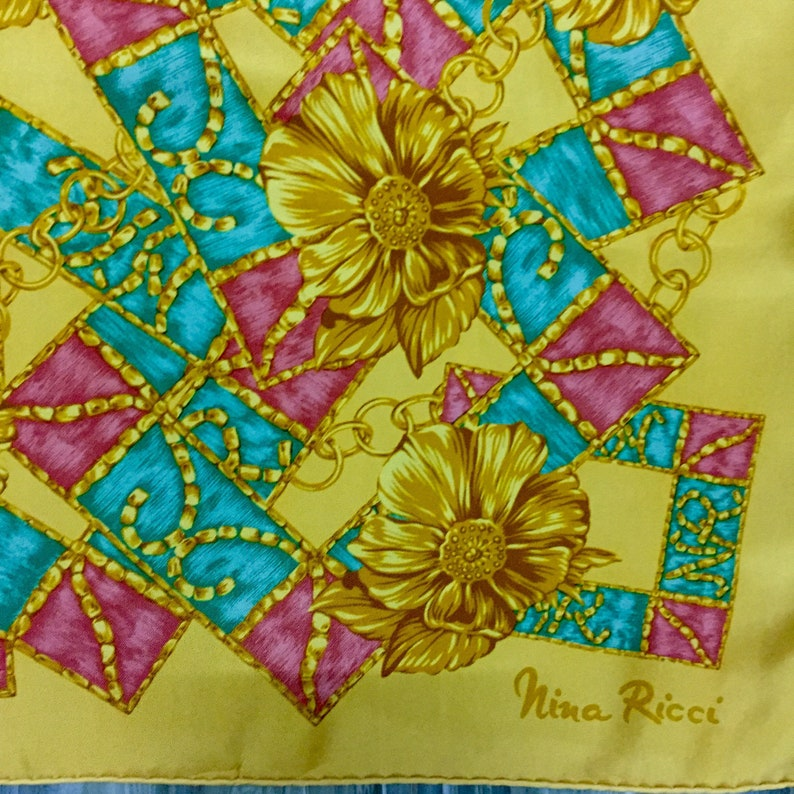 Nina Ricci silk scarf vintage scarves mustard gift for her R size 34 inches