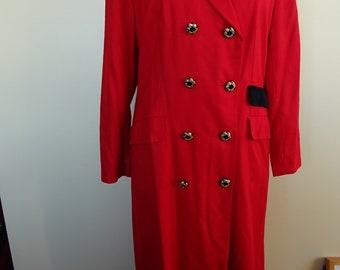 Vintage 80/'s Black Dress Coat by Katrina Size UK 12 14