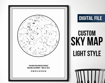 Custom Star Map Print Sky Chart Constellation Night Gift Poster Personalized