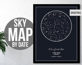Star Map By Date And Location.Custom Star Map Etsy