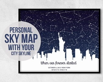 Star Map Custom, Star Map Print, Personalized Sky Map, Personalized Skyline, Sky Map Poster, Custom Sky Map, Custom Skyline Print, Night Sky