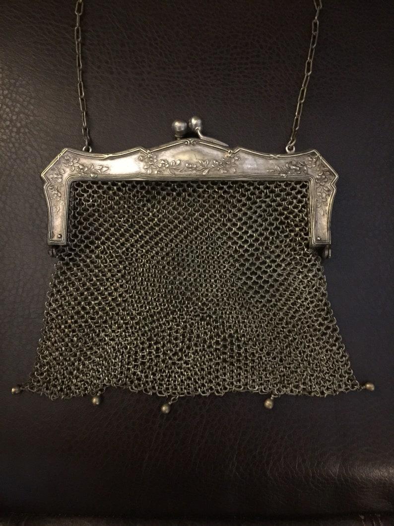 Victorian Purse chain mail Antique German Silver Chainmail Purse Silver Mesh