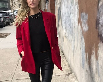 Crimson Red Vintage 100% Wool Blazer - Talbots