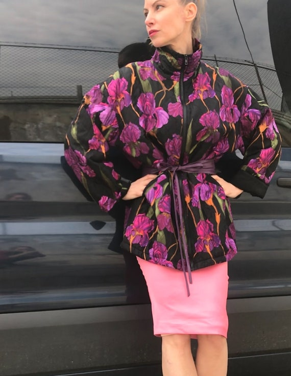 Silk Quilted Flower Pattern Kimono Coat