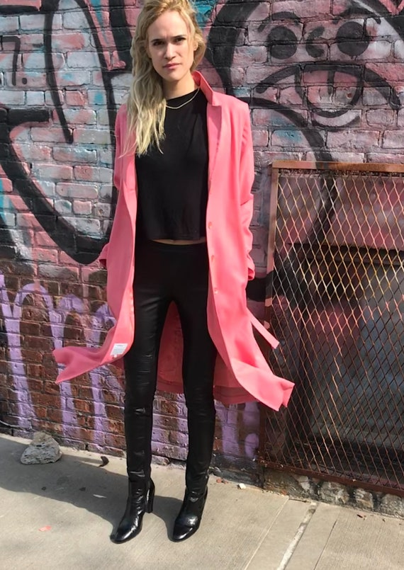 Vintage Rouge Pink Trench Coat