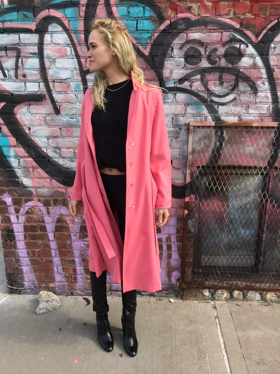 Vintage Rouge Pink Trench Coat - image 2
