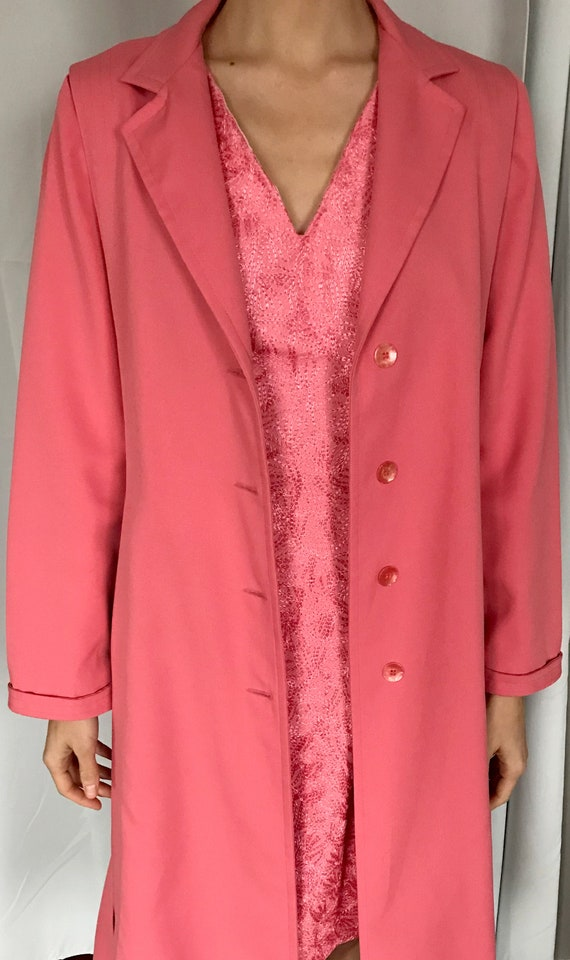 Vintage Rouge Pink Trench Coat - image 5