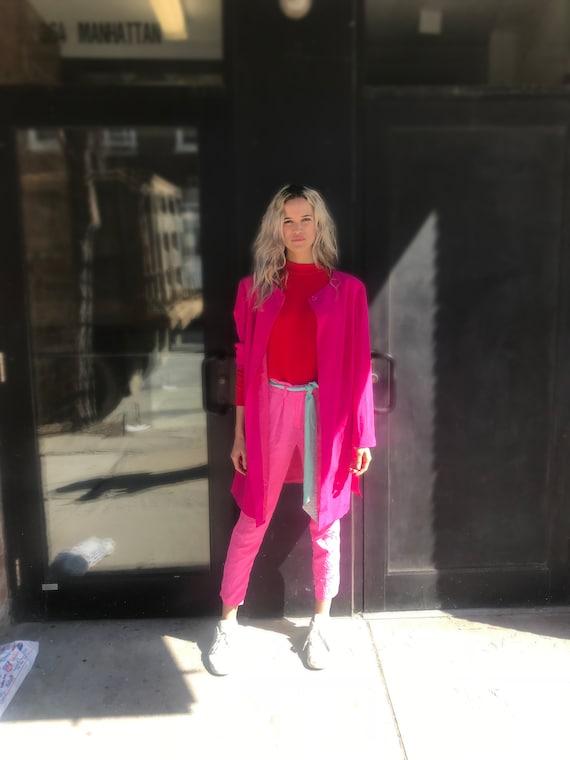 Vintage Hot Pink Silk Blazer Jacket, Kimono StyleO