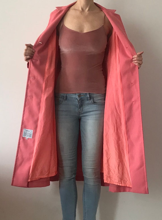Vintage Rouge Pink Trench Coat - image 10