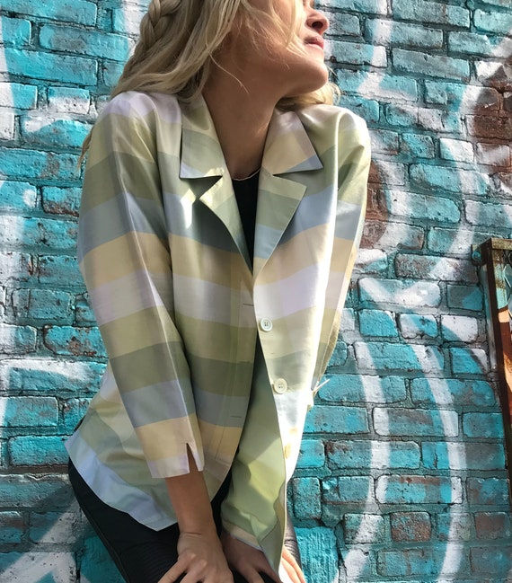 Candy Colored Pastel Silk Blazer - Vintage Liz Cla
