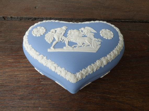 Wedgwood blue Jasperware heart-shaped trinket box.
