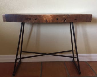 Slab table legs etsy live wood slab table with rebar legs watchthetrailerfo