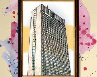 Manchester City Tower Watercolour Print