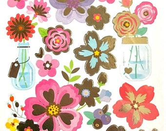 Metallic Floral Sticker Sheet