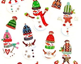 Snowman Christmas Craft Stickers