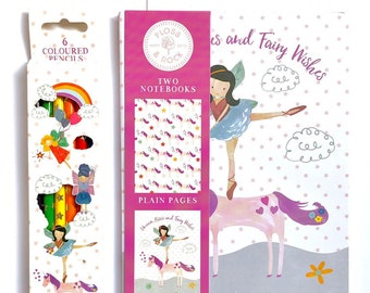 Childrens stationery set, notebooks and coloured pencils, fairy and unicorn theme