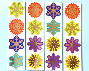 Snowflake foiled stickers