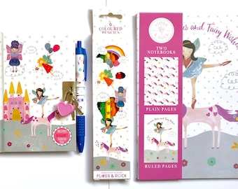 Childrens stationery set, fairy and unicorn theme, notebooks and pencils, diary and pen set